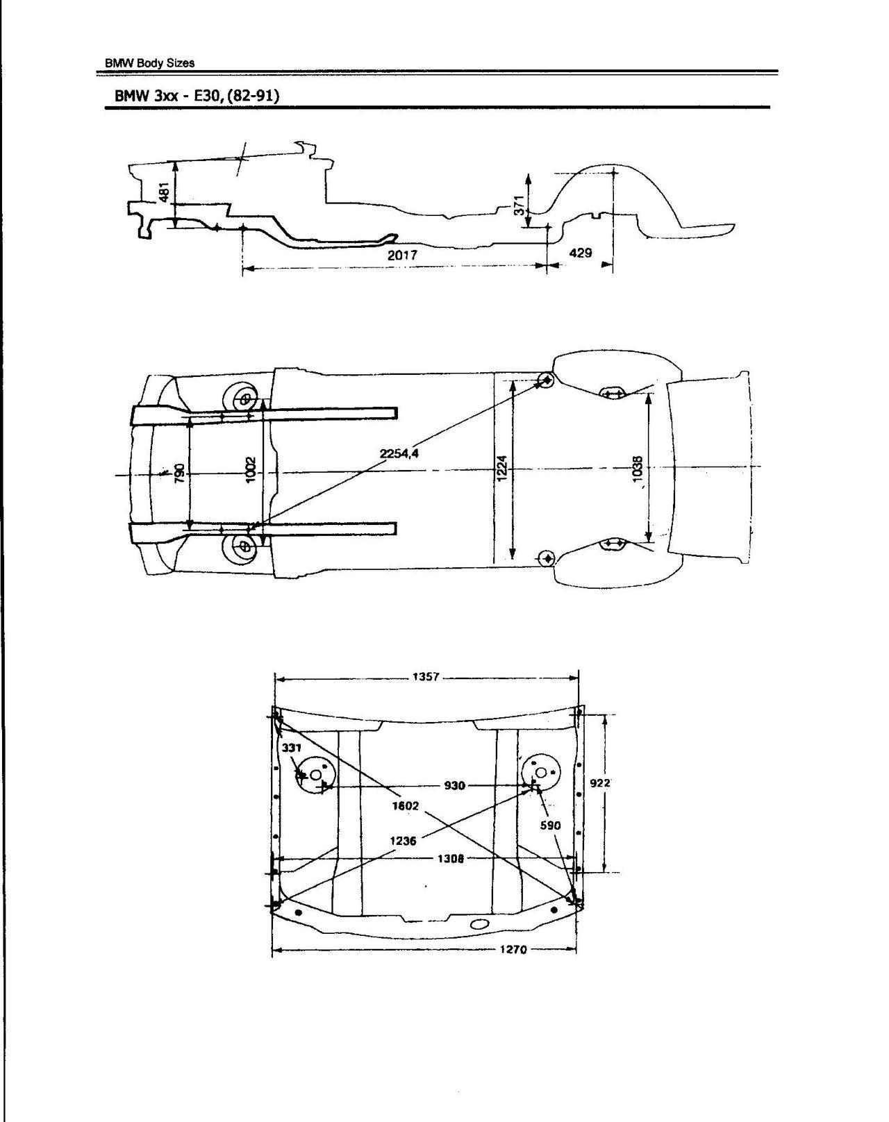 Чертеж заводских размеров кузова BMW E30