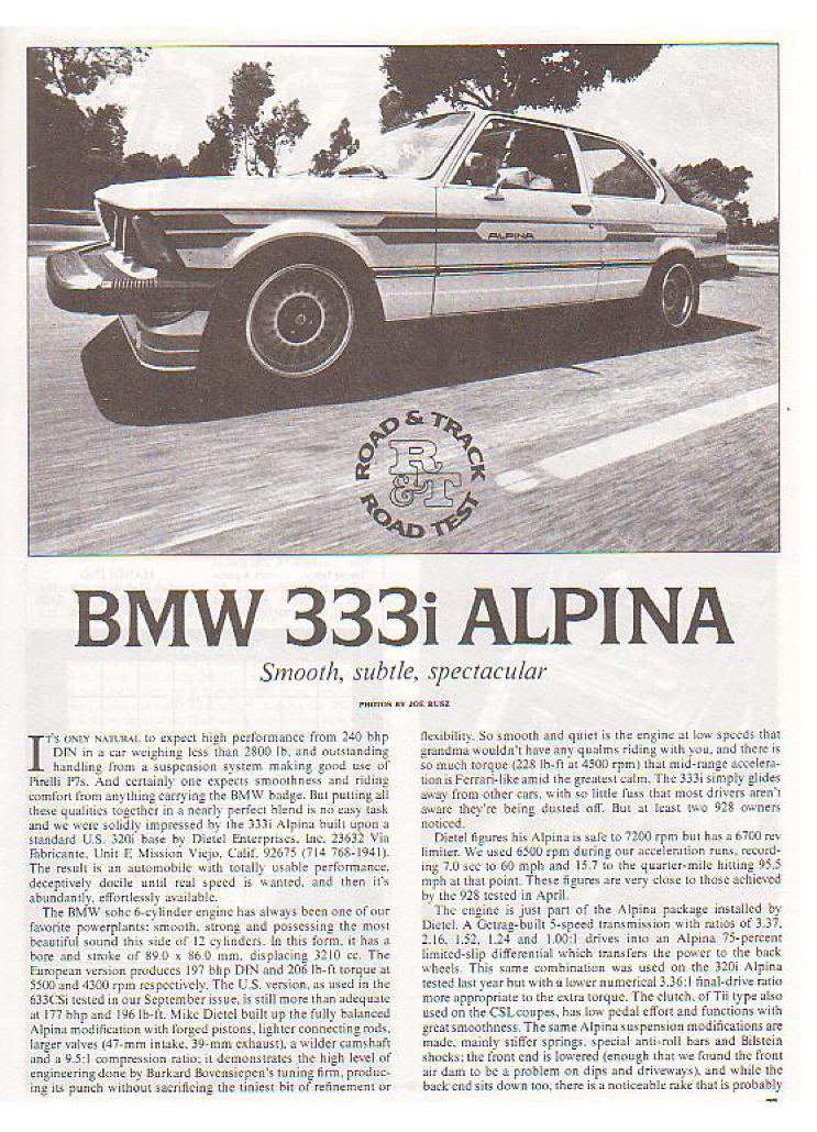 Скан статьи о БМВ е21 333 Альпина BMW E21 333 Alpina