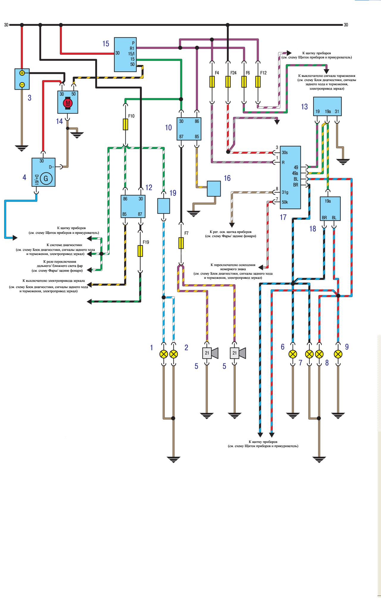 Схема проводки БМВ Е30 Система пуска, заряда, указатели поворотов