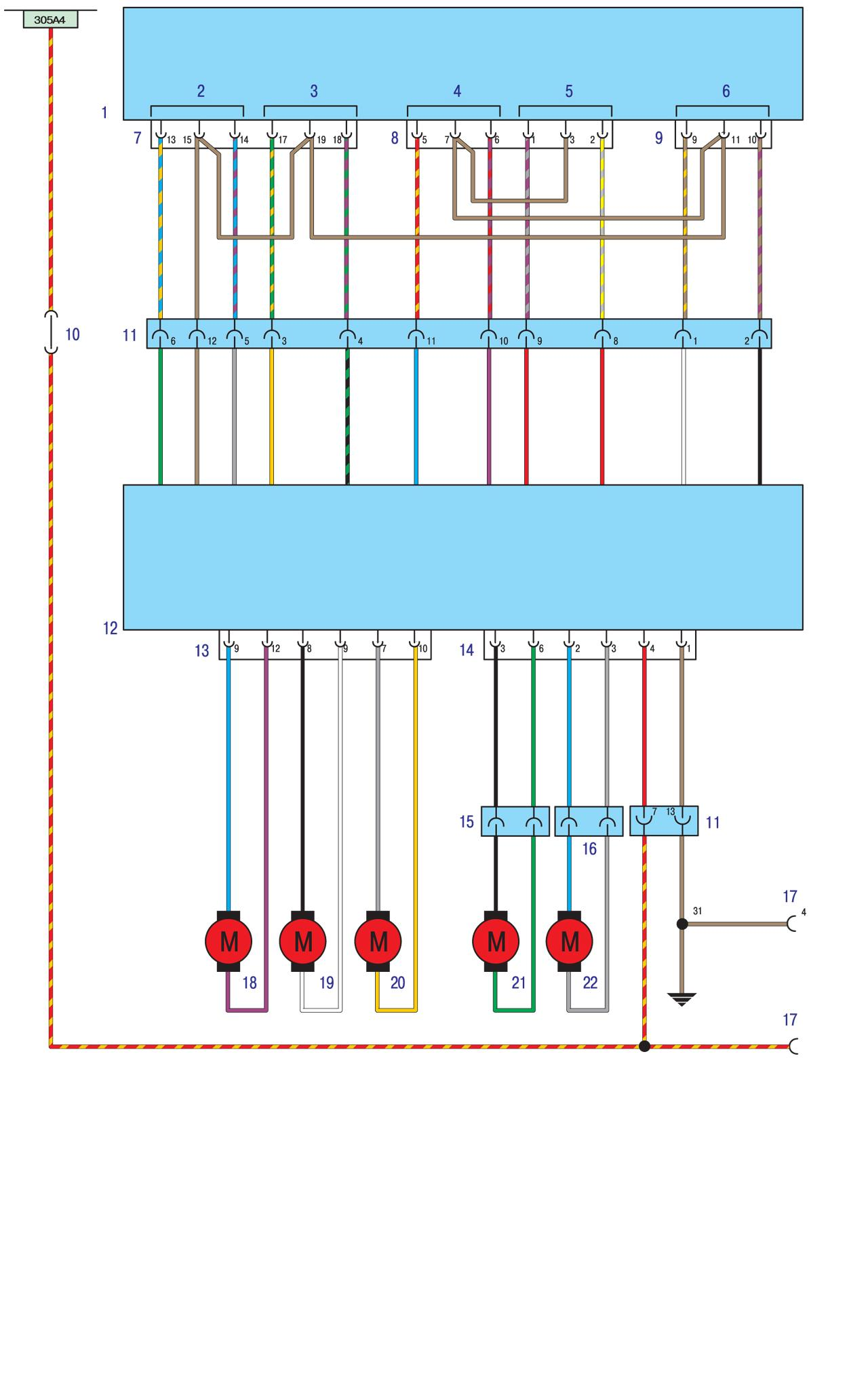 Схема проводки БМВ Е30 - Электропривод сидений без блока памяти