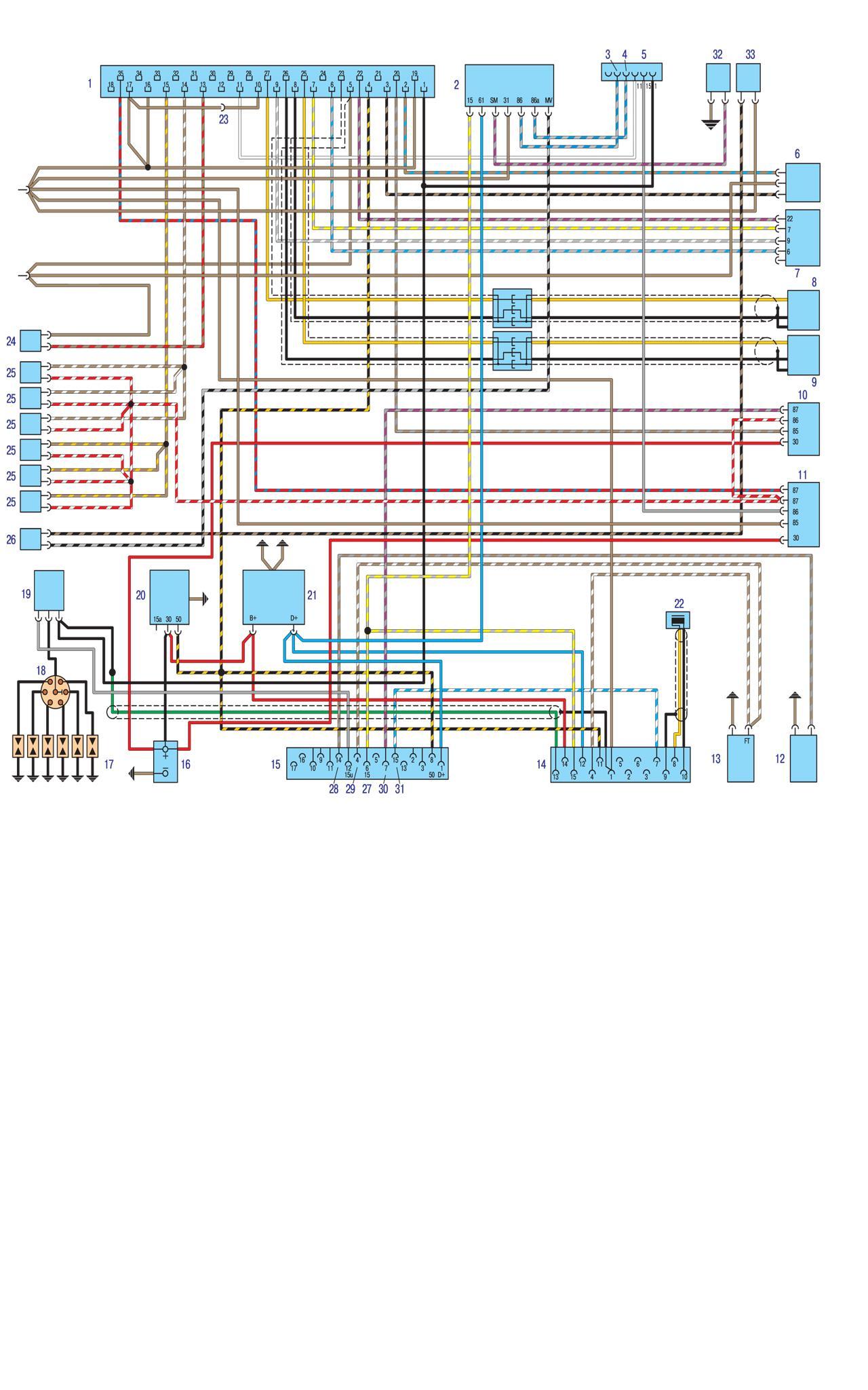 Электро схема управления двигателем Motronic на БМВ Е30
