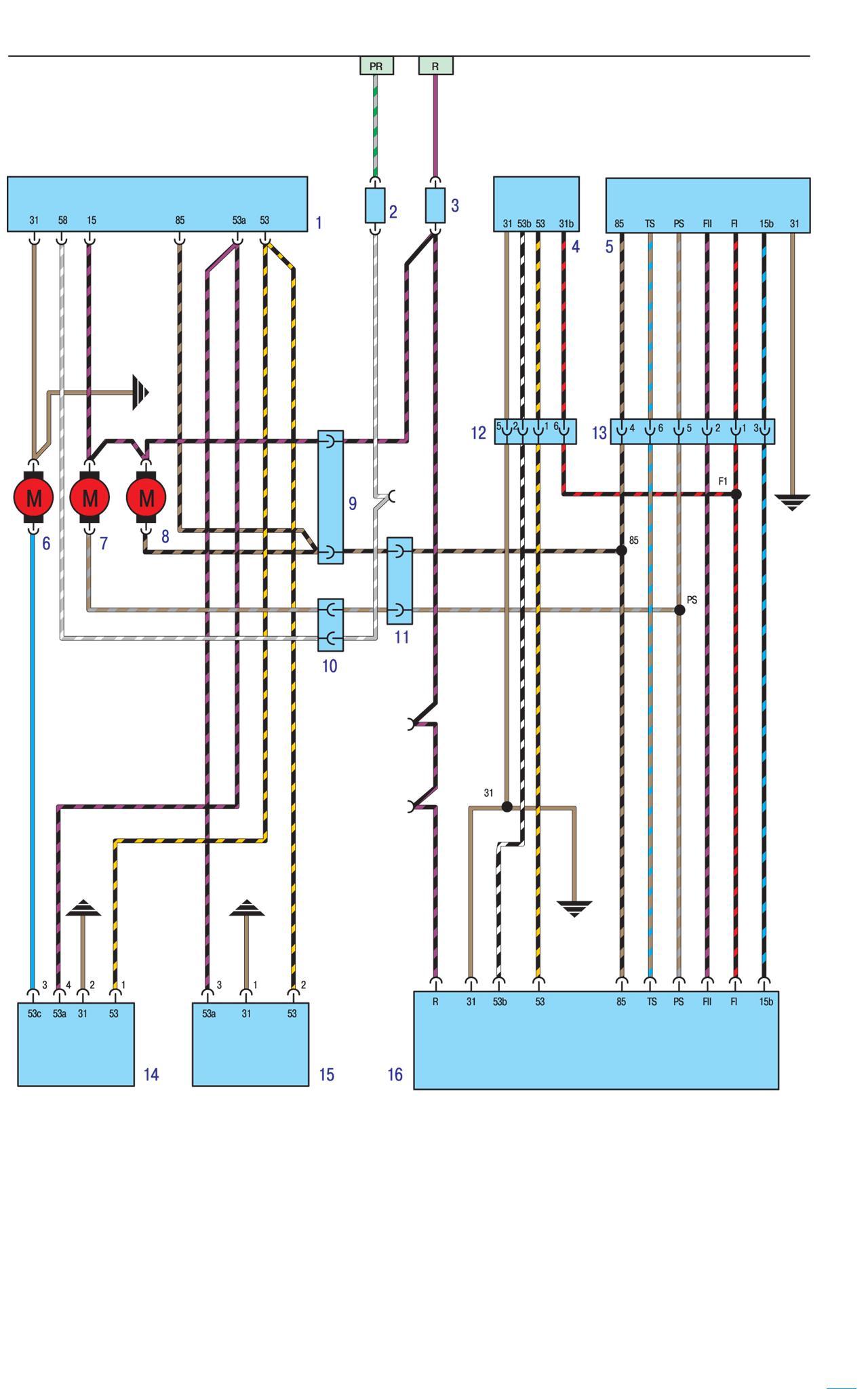 Схема проводки БМВ Е30 - Омыватели фар